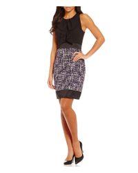 Anne Klein | Purple Bow Tie Neck Tweed Sheath Dress | Lyst