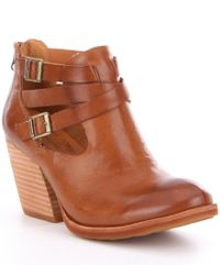 Kork-Ease | Brown Stina Leather Buckle & Strap Detail Block Heel Booties | Lyst
