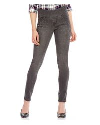 Jag Jeans | Gray Nora Pull-on Skinny Jeans With Rhinestone Bling Detail | Lyst