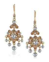 Carolee | Metallic Gold-tone Gray Imitation Pearl Chandelier Earrings | Lyst