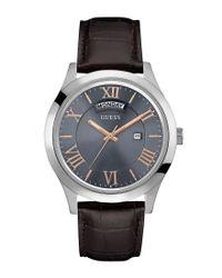 Guess - Men's Metropolitan Brown Leather Strap Watch 44mm U0792g7 for Men - Lyst