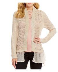 Jessica Simpson | Natural Tovelo High-low Ruffle-hem Pointelle-knit Cardigan | Lyst