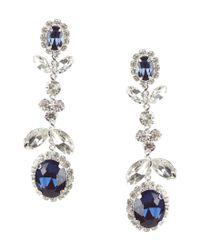 Cezanne - Metallic Floral Rhinestone Drop Earrings - Lyst