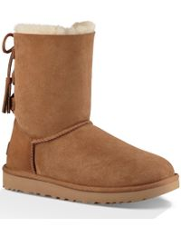 UGG | Brown ® Kristabelle Rear Lace Tasseled Pull-on Boots | Lyst