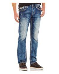 Rock Revival | Blue Straight-leg Distressed Denim Jeans for Men | Lyst