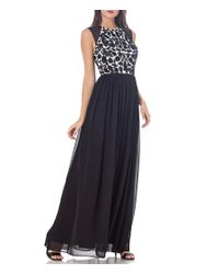 JS Collections | Black Illusion Shoulder Floral Beaded Chiffon Gown | Lyst