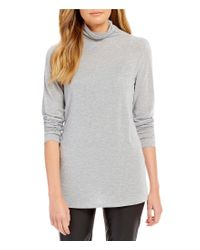 Eileen Fisher | Gray Funnel Neck Long Sleeve Slouchy Top | Lyst