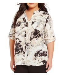 Calvin Klein | Black Plus Split Neck Roll-tab Sleeve Floral Print Blouse | Lyst