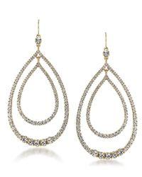 Trina Turk | Metallic Gold-tone Multi-crystal Double Teardrop Orbital Drop Earrings | Lyst