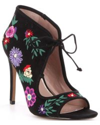 Betsey Johnson   Black Caira Floral Embroidered Print Peep-toe Booties   Lyst