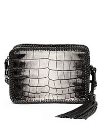Botkier | Black Quincy Crocodile-embossed Braided Mini Cross-body Bag | Lyst