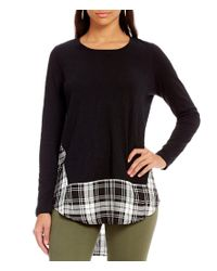 Vince Camuto | Black Two By Mixed Media Shadow Check Top | Lyst