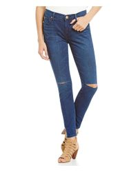 True Religion Blue Halle Ankle Knee-slit Super Skinny Jeans