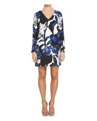 1.STATE | Blue V-neck Long Sleeve Double Bar Back Floral Sheath Dress | Lyst