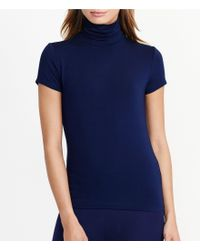 Lauren by Ralph Lauren | Blue Turtleneck Short Sleeve Solid Stretch Jersey Top | Lyst