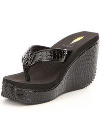 Volatile Black Shadow Wedge Sandals