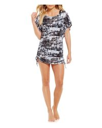Lucky Brand | Black Global Tie Dye Side Shirred Tunic Cover Up | Lyst