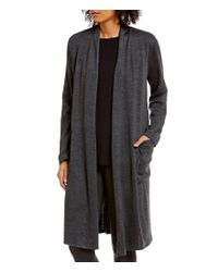 Eileen Fisher | Gray Sleek Heathered Wool Jersey Kimono Cardigan | Lyst