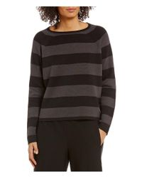 Eileen Fisher | Black Bateau Neck Striped Cropped Silk Sweater Top | Lyst