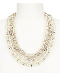Belle By Badgley Mischka | Metallic Pearl Torsade Collar Necklace | Lyst