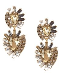Belle By Badgley Mischka | Metallic Abstract Rhinestone Chandelier Earrings | Lyst