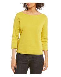 Eileen Fisher   Yellow Ballet Neck Organic Cotton Interlock Top   Lyst