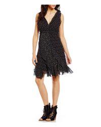Chelsea & Violet | Black Star V-neck Sleeveless Ruffle Dress | Lyst