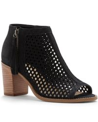 Vince Camuto | Black Tresin Leather Laser Cut Stacked Block Heel Peep Toe Booties | Lyst