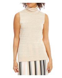 Calvin Klein | Natural Marled Stripe Fine Gauge Knit Turtleneck Shell | Lyst