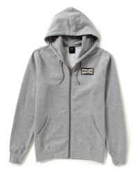 RVCA | Gray Reds Patch Zip-up Hoodie for Men | Lyst