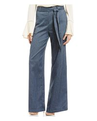 Blu Pepper | Blue Tie Front Wide Leg Pin-stripe Chambray Pants | Lyst