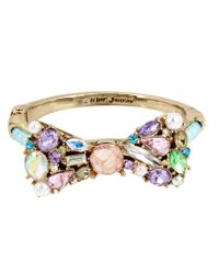 Betsey Johnson | Multicolor Stone & Faux-pearl Bow Mesh Tube Bangle Bracelet | Lyst