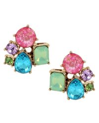 Betsey Johnson | Multicolor Stone Cluster Button Stud Earrings | Lyst