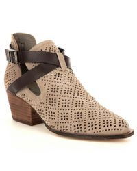 Chinese Laundry | Brown Sydney Perforated Suede V-throat Block Heel Booties | Lyst