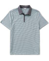 Calvin Klein   Blue Micro-print Short-sleeve Polo Shirt for Men   Lyst