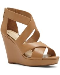 Jessica Simpson | Brown Jenay Leather Criss Cross Back Zip Platform Wedges | Lyst