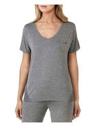 Kensie | Gray Jersey & Lace Sleep Top | Lyst