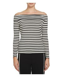 1.STATE | Black Off-the-shoulder Long Sleeve Striped Ribbed Knit Top | Lyst
