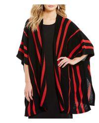 Pendleton   Red Kimono Sleeve Open Front Stripe Print Cape   Lyst
