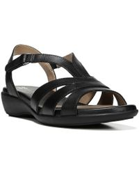 Naturalizer | Black Neina Leather T-strap Banded Sandal | Lyst