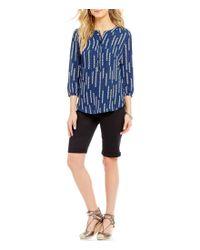 NYDJ | Black Briella Roll-cuff Bermuda Shorts | Lyst