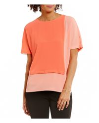 Vince Camuto | Pink Round Neck Extended Shoulder Colorblock Blouse | Lyst