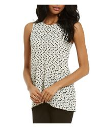 Vince Camuto | Multicolor Sleeveless Deco Layer Dots Ruffle Front Blouse | Lyst