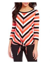 Ruby Rd. | Multicolor Ballet Neck Tie-front Stripe Knit Top | Lyst