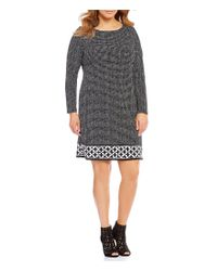 MICHAEL Michael Kors | Black Plus Nezla Geometric Border Print Matte Jersey Dress | Lyst