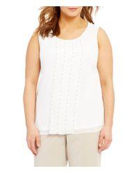 Calvin Klein | White Plus Sleeveless Stud Detail Blouse | Lyst