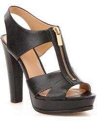 MICHAEL Michael Kors | Black Bishop Leather Front Zip Backstrap Dress Sandals | Lyst
