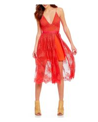 Free People | Red Matchpoint V-neck Sleeveless Scalloped Lace Midi Dress | Lyst