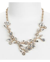 Belle By Badgley Mischka | Metallic Glitzy Faux-crystal Flower Collar Necklace | Lyst