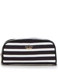 kate spade new york | Black Classic Nylon Berrie Striped Cosmetic Case | Lyst